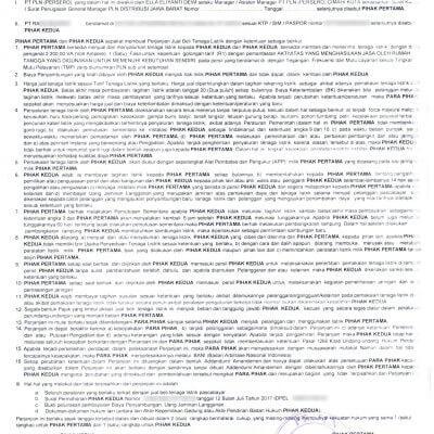 Surat Perjanjian Jual Beli Tenaga Listrik Pascabayar